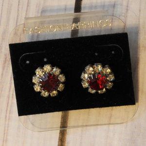 new vintage red rhinestone round flower earrings